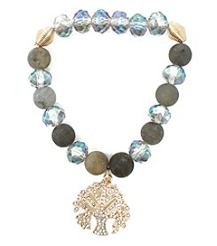 L&J Accessories Goldtone Glass Stone Tree Charm Bracelet