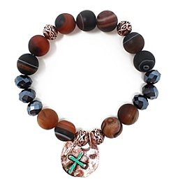 L&J Accessories Copper Jet Hem Glass Circle Charm Bracelet