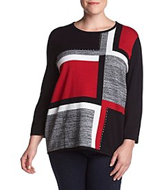 Alfred Dunner® Plus Size Studded Color Blocked Sweater