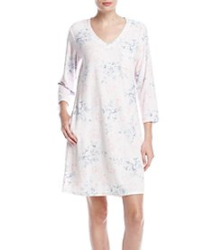 Miss Elaine Short Floral Print Waffle Nightgown
