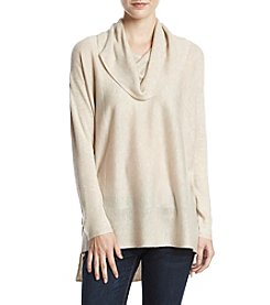 Sequin Hearts Cowl Neck  High Low Hem Sweater