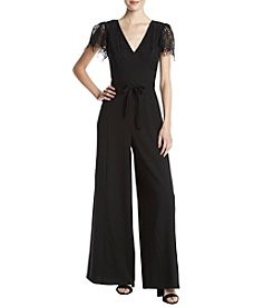Lily White Lace Sleeve V-Neck Jumpsuit