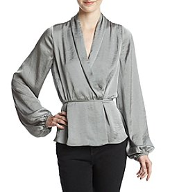 Lily White Woven Wrap Front Blouse