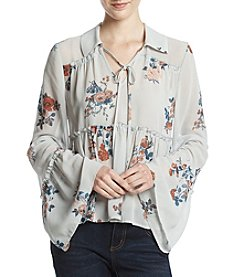 Lily White Floral Woven Blouse
