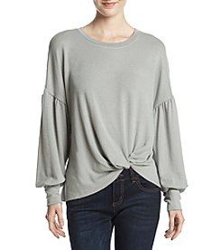 Lily White Knot Front Balloon Sleeve Top
