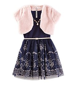 Beautees Girls' 7-16 Dress With Jacket Set