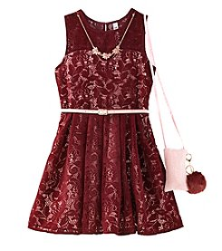 Beautees Girls' 7-16 Sleeveless Lace Dress