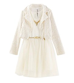Beautees Girls' 7-16 Dress With Jacket And Necklace