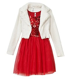 Beautees Girls 7-16 Dress With Faux Fur Moto Jacket