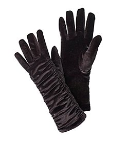 Cejon Solid Velvet Ruched Gloves