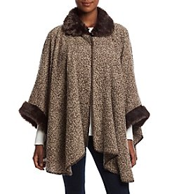 Cejon Soft Boucle Cape With Faux Fur Trim