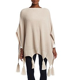 Collection 18 Pointed Tassel Knit Poncho
