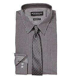 Nick Graham Men's Long Sleeve Striped Dress Shirt with Tie