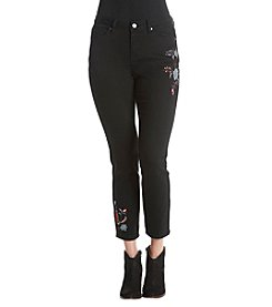 Earl Jean® Floral Embroidered Ankle Jeans