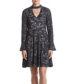 Ivanka Trump® Lace Woven Dress With Choker Neckline