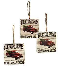 Living Quarters Set of 3 Yuletide Farms Sign Ornaments
