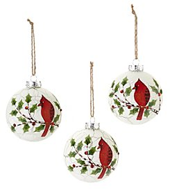 Living Quarters Set of 3 Glass Cardinal Holly Ball Ornaments
