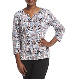 Alfred Dunner Petites' Classic Knit Printed Top