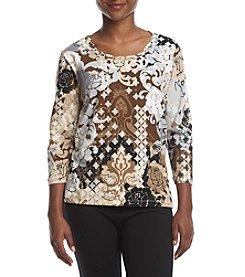 Alfred Dunner® Neutral Patchwork Top