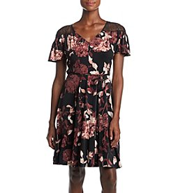 Ivanka Trump Floral Fit And Flare Lace Illusion Dress