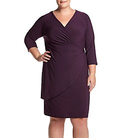 R&M Richards Plus Size V-Neck Wrap Dress