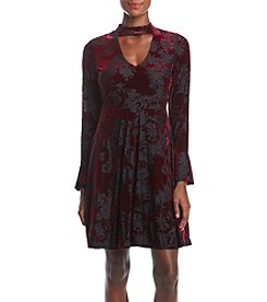 Ivanka Trump Choker Neckline Crushed Velvet Dress