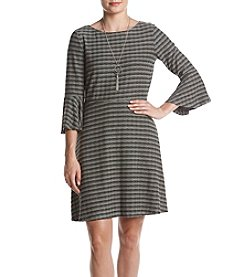 AGB® Rib Knit Stripe Neck Dress