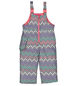 London Fog® Girls' 2T-4T Chevron Heart Snowbibs
