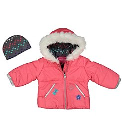 London Fog® Girls' 4-6X Patch Puffer Jacket And Hat