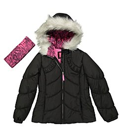 London Fog® Girls' 7-16 Puffer Jacket and Headband