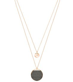 Swarovski® Rose Goldtone and Grey Crystal Ginger Layered Pendant Necklace