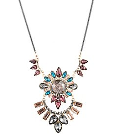 ABS by Allen Schwartz Goldtone Multicolor Stone Statement Pendant Necklace