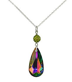 Designs by FMC Sterling Silver Green Crystal Pendant