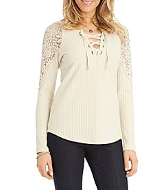 Democracy Lace Up V-Neck Sweater