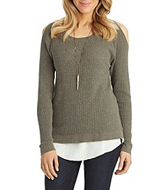 Democracy Cold Shoulder Knit Sweater
