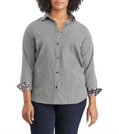 Chaps Plus Size Houndstooth Pattern Button Up Top