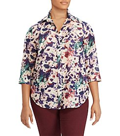 Lauren Ralph Lauren Plus Size Floral Button Up Top