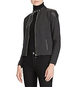Lauren Ralph Lauren Faux Leather Detail Zip Moto Jacket