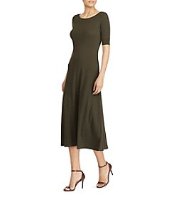 Lauren Ralph Lauren Long Boat Neck A-Line Dress