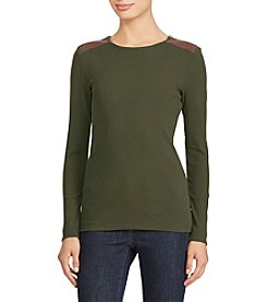 Lauren Ralph Lauren Shoulder Patch Zip Top