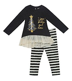 Rare Editions Girls' 2T-4T Long Sleeve Hope Joy Love Top And Striped Leggings Set