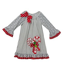 Rare Editions Girls' 2T-6X Long Sleeve Candycane Dress