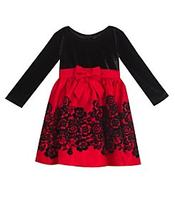 Rare Editions Girls' 2T-4T Velvet Top And Skirt Dress