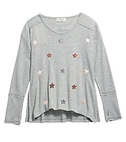 Jessica Simpson Girls' 7-16 Long Sleeve Logan Stars Graphic Tee