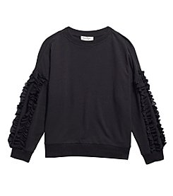 Jessica Simpson Girls' 7-16 Ruffle Sleeve Sweatshirt