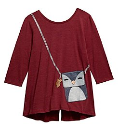 Jessica Simpson Girls' 7-16 Graphic Penguin Purse Top