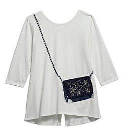 Jessica Simpson Girls' 7-16 Quarter Sleeve Libra Graphic Purse Top