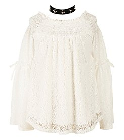 Speechless Girls' 7-16 Long Sleeve Lace Peasant Top