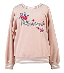Speechless Girls' 7-16 Blessed Embroidered Hoodie