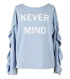 Speechless Girls' 7-16 Nevermind Ruffle Sleeve Sweatshirt